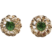 Art Deco 14K Gold Tsavorite Garnet Crown Stud Earrings