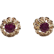 Art Deco 14K Gold Burmese Ruby Crown or Flower Stud Earrings