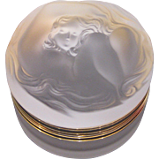 Lalique France Daphne Nymph Nude Frosted Powder Box Dresser Jar