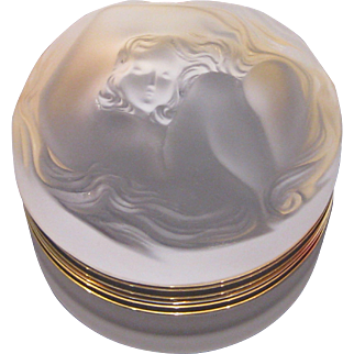 Lalique France Daphne Nymph Nude Frosted Powder Box Dresser Jar