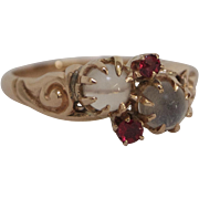 Victorian Moonstone and Ruby 14K Rose Gold Ring