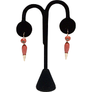 18kt Gold, Natural Italian Coral and Diamond Earrings