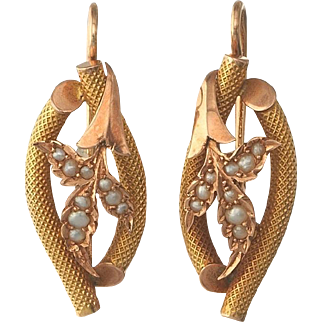 Stunning Two-Tone 14Kt Gold and Seed Pearl Earrings