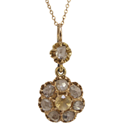 Victorian 9 Diamond Flower Pendant and 14K Gold Chain