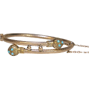 9kt Gold and Turquoise Etruscan Revival Bracelet, circa 1880s