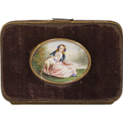 Velvet Coin Purse with Original Painting, Circa 1860