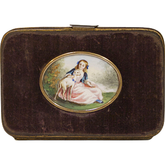 Velvet Coin Purse with Original Painting, Circa 1860