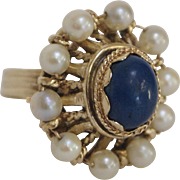 Renaissance Revival Lapis stone and Pearl 14K Gold Ring