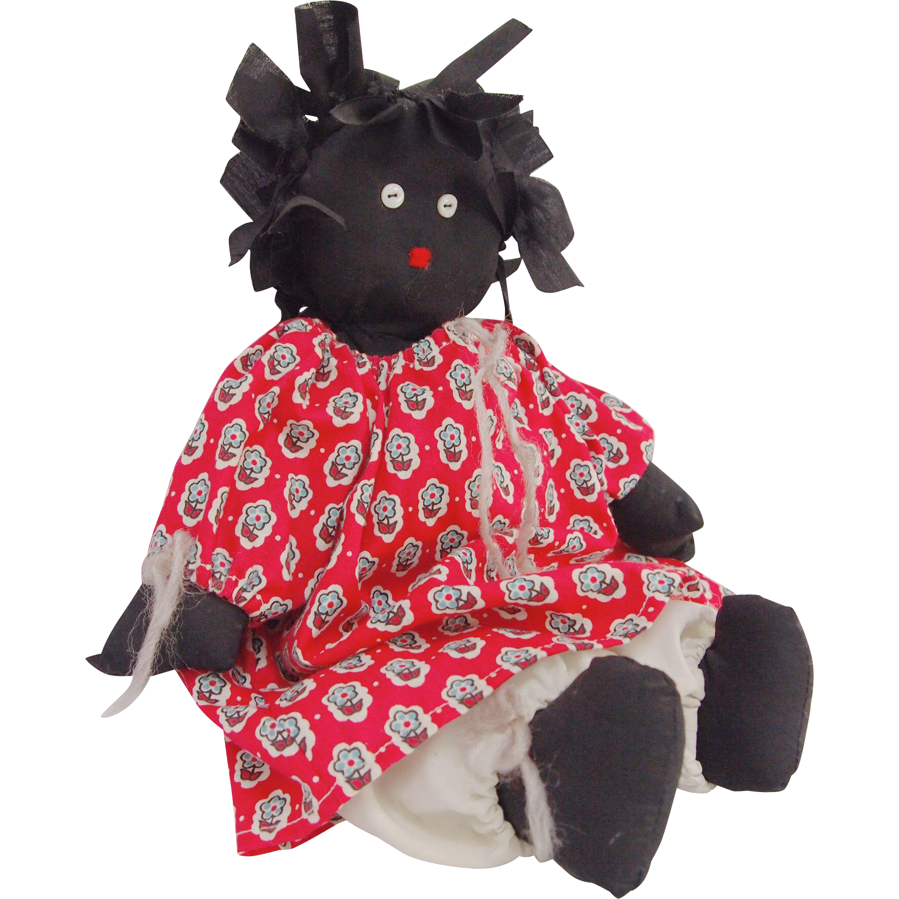 Vintage African American Rag Doll With Rag Tie Hair From