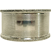 English Sterling Silver Engine Turned Napkin Ring by Turner & Simpson, Circa 1957