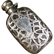 Alvin Sterling Silver Overlay Small Lady's Flask or Perfume Bottle