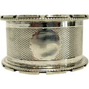 English Sterling Silver Engine Turned Napkin Ring by Mayes, Mills, & Co. (1928)