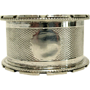 English Sterling Silver Engine Turned Napkin Ring by Mayes, Mills, & Co, circa 1928