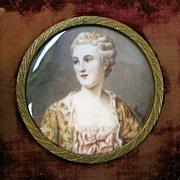 "Victorian Miniature Portrait in Gilt Frame, Signed ""Reynolds,"" circa 1870s"