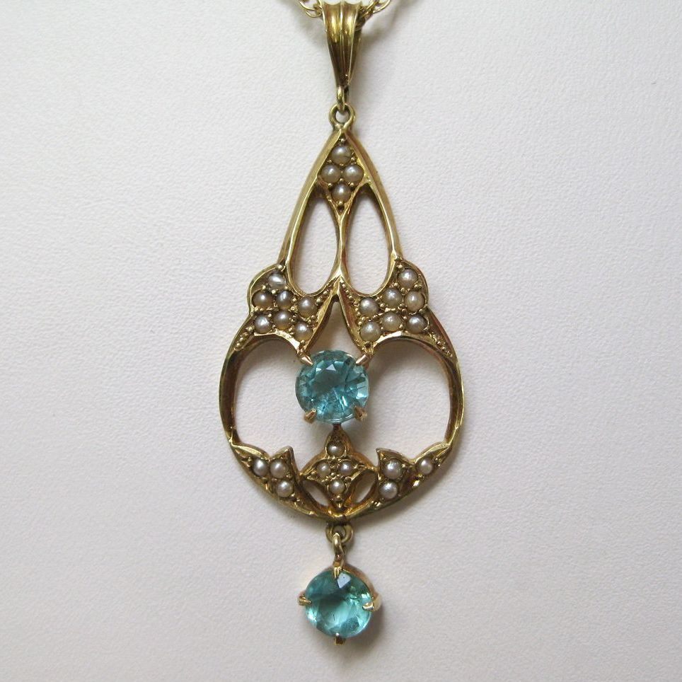 14 K Gold Lavaliere with Blue Zircons & Seed Pearls on 14 K Gold Chain,