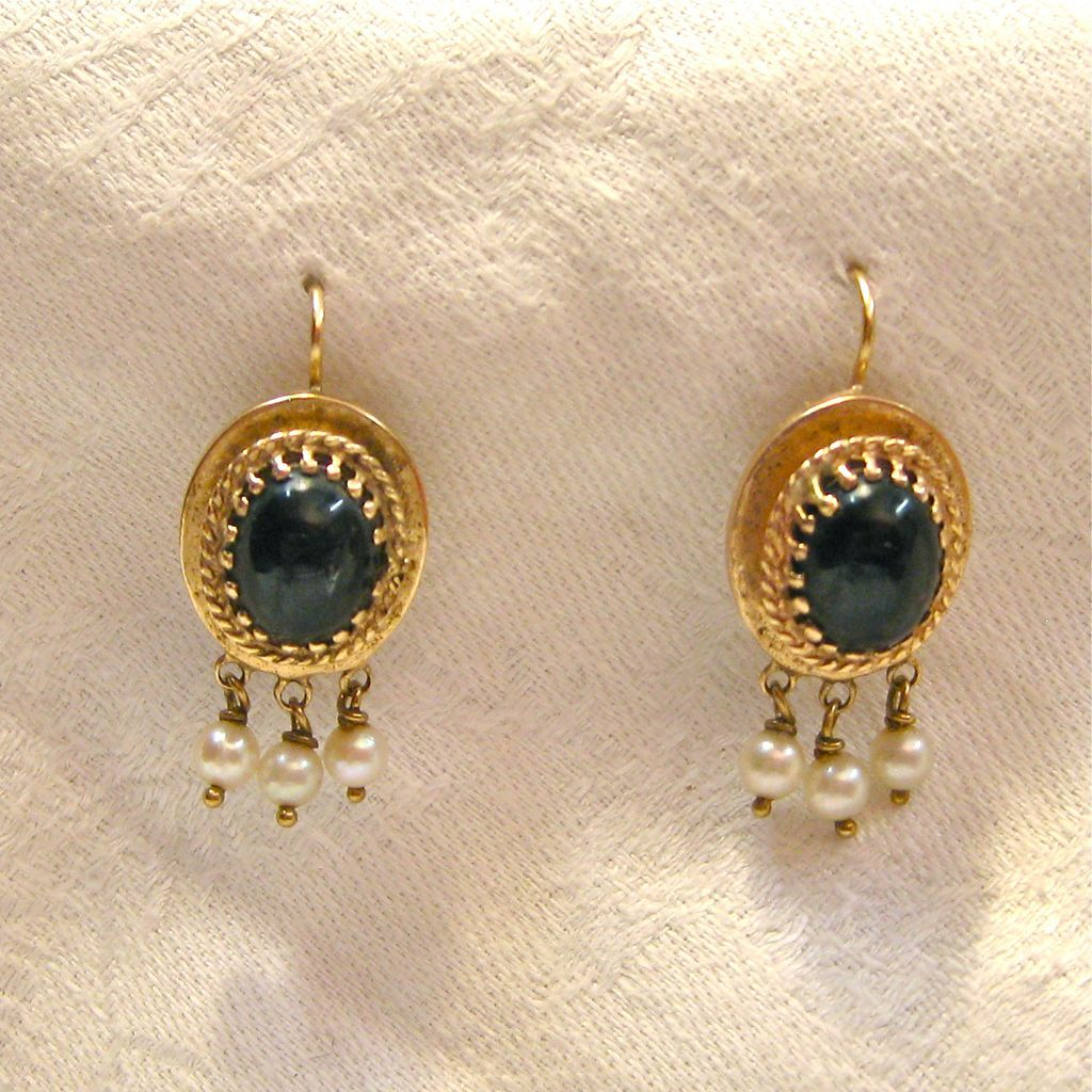 14 K Gold Onyx And Natural Pearl Victorian Earrings From