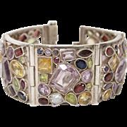 Vintage Sterling Silver & Gemstone Segmented Cuff Bracelet