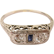 18K Gold Edwardian/Art Deco Old Mine Cut Diamond and Sapphire Ring