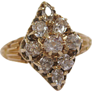 14 K Gold Old Mine Cut Navette Shaped Victorian Diamond Ring