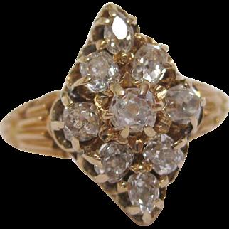 14 K Gold Old Mine Cut Navette Shaped Victorian Diamond Ring