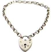English Sterling Silver Heart Clasp Bracelet