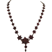 Bohemian Red Garnet Gem Star Cluster Necklace