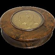 19th Century Karelian Birch Tree Box with Bronze Medallion
