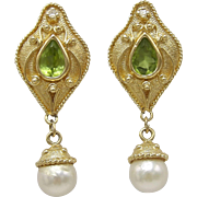 14KT Gold, Diamond & Citrine Renaissance Revival Earrings