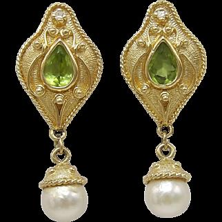 14KT Gold, Diamond & Citrine Renaissance Revival Earrings