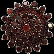 Bohemian Star Cluster Flat Cut Garnet Gemstone Brooch
