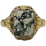 10K Gold & Moss Agate Edwardian Ring