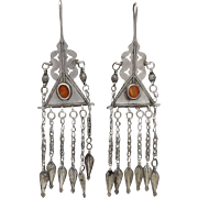Hand-crafted Tribal 800 Silver & Carnelian Uzbekistan Earrings