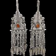 Hand-crafted Tribal 800 Silver & Carnelian Uzbekistan Earrings