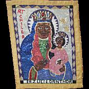 Haitian Sequin Erzulie Dantor Voodoo Drapeau