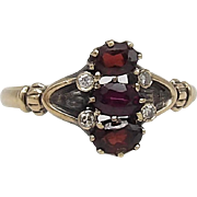 Victorian 14KT Gold Garnet & Diamond Ring