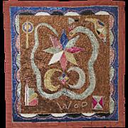 Hatian Vodou Flag with Shimmering Cosmic Snake Spirit