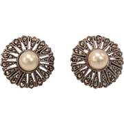 French Edwardian Sterling Silver, Marcasite & Pearl Earrings