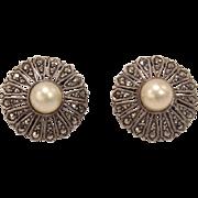 French Edwardian Sterling Silver, Marcasite & Pearl Earrings