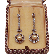 Edwardian Era Paste & Pearl Earrings