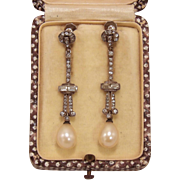Edwardian Paste & Pearl Dangle Earrings