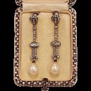 Edwardian Paste & Pearl Dangle Earrings
