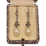 Edwardian Sterling Silver Gold Plated Paste and Pearl Drop Earrings