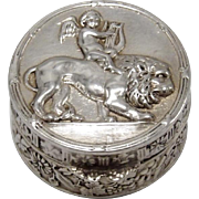 Italian Silver Repoussé Pill Box with Cherub