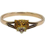 Rare Victorian Enamel Tiger with Diamond 14KT Gold Bracelet