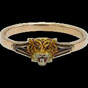 Rare Victorian Enamel Tiger with Diamond 14KT Gold Bracelet