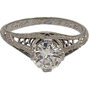 Unique Art-Deco Platinum Diamond Ring