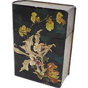 19th C. Hand-Painted Floral Book-Shaped Box