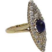 Edwardian-Era Blue Sapphire and Diamond Ring