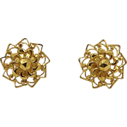 22KT Yellow Gold Delicate Mandala Earrings