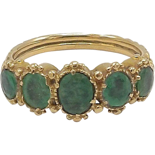 Early Victorian Emerald Green 14KT Gold Ring